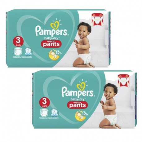 Pampers - Giga Pack 160 Couches Baby Dry Pants taille 3 sur Couches Poupon
