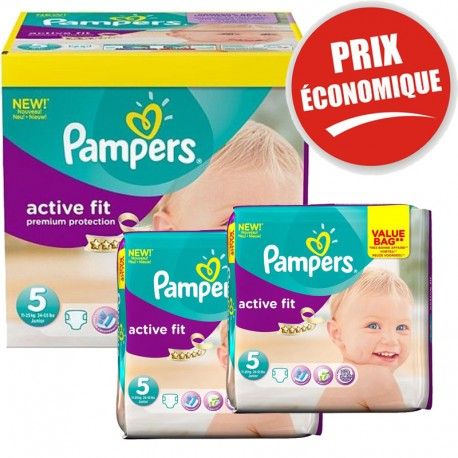 Pampers - Maxi Pack 376 Couches Active Fit taille 5 sur Couches Poupon