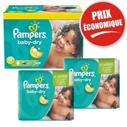Pampers - Maxi Pack 225 Couches Baby Dry taille 5+ sur Couches Poupon