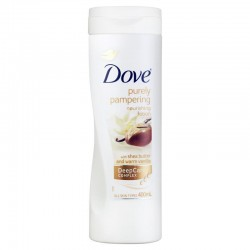 Dove - Lait Corps Purely Pampering Shea Butter & Warm Vanilla sur Couches Poupon