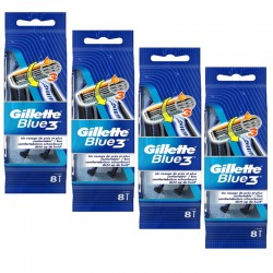 Lot de 4 Packs Gillette Blue3 Rasoirs Jetables 8 pc.Edition Football sur Couches Poupon