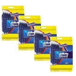 Lot de 4 Packs Gillette BlueII Rasoirs Jetables 20 pc. sur Couches Poupon