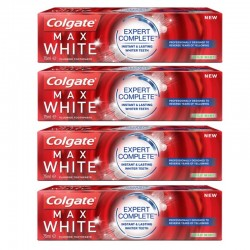 Colgate - Lot 4 Dentifrices Max White Expert Complete Mild Mint sur Couches Poupon
