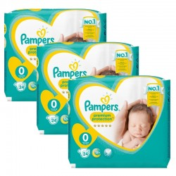 Pampers - Maxi Giga Pack 72 Couches New Baby taille 0 sur Couches Poupon