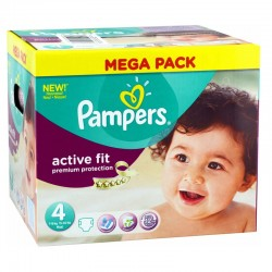 Pampers Pack 168 Couches Active Fit Premium Protection taille 4 sur Couches Poupon
