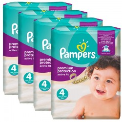 Pampers - Mega Pack 336 Couches Active Fit - Premium Protection taille 4 sur Couches Poupon