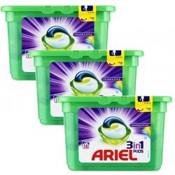 Lot de 3 Ariel Pods 16 Colour & Style 3in1 (432 gr) sur Couches Poupon