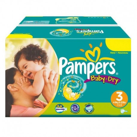 Pampers - Mega Pack 374 Couches Baby Dry taille 3 sur Couches Poupon
