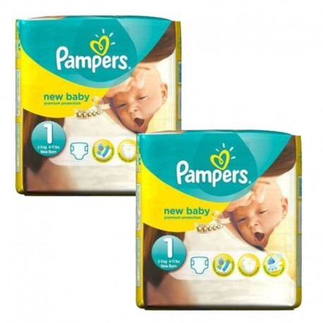 Pampers - Pack 46 Couches new baby - premium protection taille 1 sur Couches Poupon