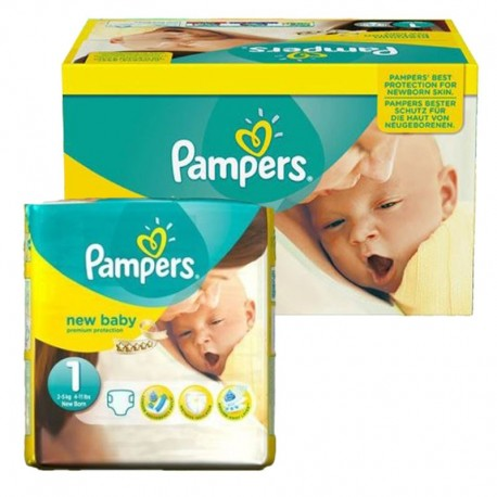Pampers - Maxi Pack 92 Couches new baby - premium protection taille 1 sur Couches Poupon