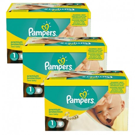 Pampers - Pack Jumeaux 506 Couches new baby - premium protection taille 1 sur Couches Poupon