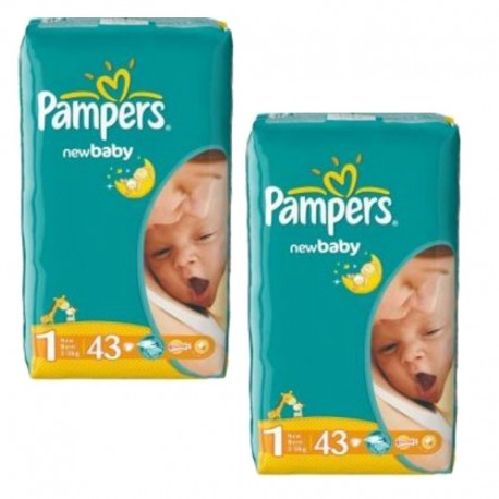 Pampers - Pack 86 Couches New Baby Dry taille 1 sur Couches Poupon