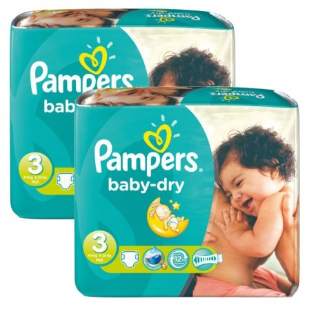 Pampers - 102 Couches Baby Dry taille 3 sur Couches Poupon