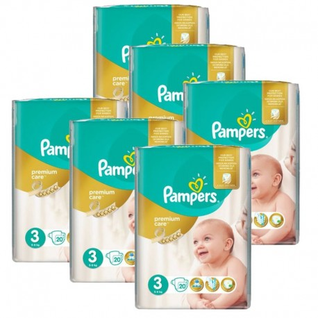Pampers - pack Jumeaux 480 Couches Premium Care - Prima taille 3 sur Couches Poupon