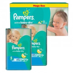 Pack Jumeaux 440 couches Pampers Active Baby Dry sur Couches Poupon