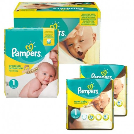 Pampers Maxi Pack 192 Couches New Baby Premium Protection taille 1 sur Couches Poupon