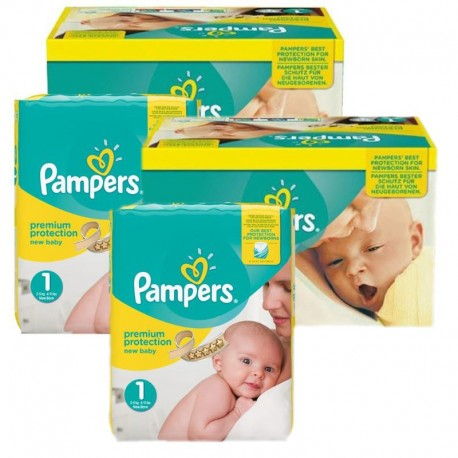 Pampers Maxi Pack 384 Couches New Baby Premium Protection taille 1 sur Couches Poupon