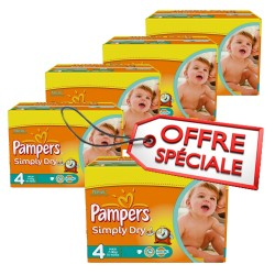 Pampers - Pack économique 220 Couches Simply Dry taille 4 sur Couches Poupon