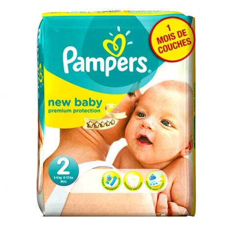 Pampers - Pack 62 Couches New Baby Premium Protection taille 2 sur Couches Poupon