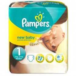 Pampers - Pack 25 Couches New Baby taille 1 sur Couches Poupon
