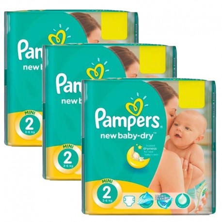 Pampers - Giga Pack 129 Couches New Baby Dry sur Couches Poupon