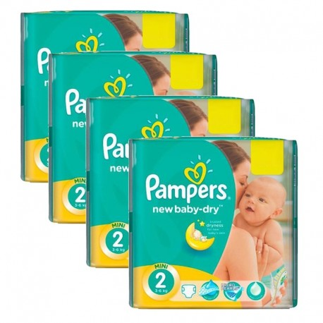 Pampers - Giga Pack 215 Couches New Baby Dry sur Couches Poupon