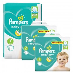 Maxi Mega Pack 232 couches Pampers Baby Dry sur Couches Poupon