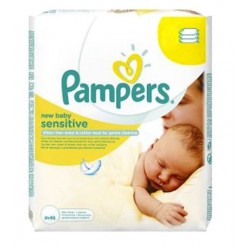 Pampers - 56 Lingettes Bébés New Baby Sensitive sur Couches Poupon