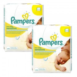 Pampers - Pack 336 Lingettes Bébés New Baby Sensitive sur Couches Poupon