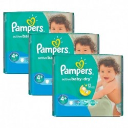 Pampers - Pack jumeaux 640 Couches Active Baby Dry taille 4+ sur Couches Poupon
