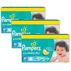 Pampers - Pack jumeaux 680 Couches Active Baby Dry taille 4+ sur Couches Poupon
