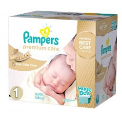 Pampers - Pack jumeaux 704 Couches Premium Care taille 1 sur Couches Poupon