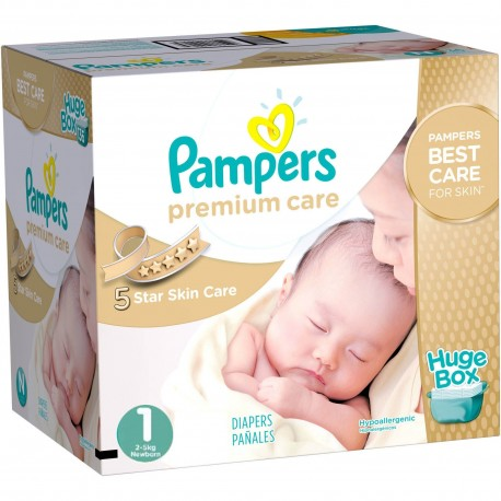 Pampers - Pack jumeaux 792 Couches Premium Care taille 1 sur Couches Poupon