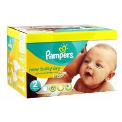 Pampers - Mega pack 172 Couches New Baby Dry sur Couches Poupon