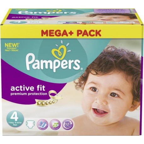 Pampers - Mega pack 164 Couches Active Fit Premium Protection taille 4 sur Couches Poupon