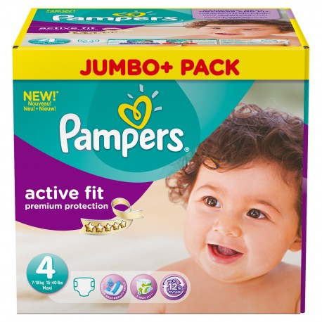 Pampers - Giga pack 246 Couches Active Fit Premium Protection taille 4 sur Couches Poupon