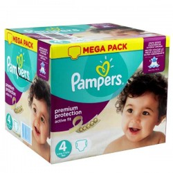 Pampers - Maxi mega pack 492 Couches Active Fit Premium Protection taille 4