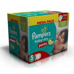 Pampers - Giga pack 208 Couches Baby Dry Pants taille 5 sur Couches Poupon