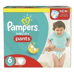Pampers - Pack 92 Couches Baby Dry Pants taille 6 sur Couches Poupon