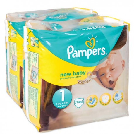 Pampers - Pack jumeaux 1056 Couches New Baby Premium Protection taille 1 sur Couches Poupon