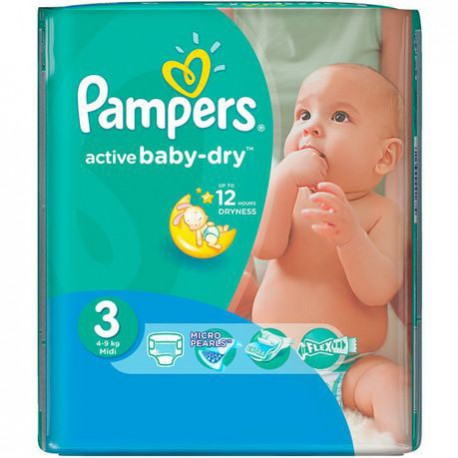Pampers - Pack 82 Couches Active Baby Dry taille 3 sur Couches Poupon