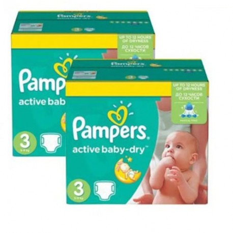Pampers - Maxi giga pack 328 Couches Active Baby Dry taille 3 sur Couches Poupon