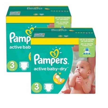 Pampers - Pack jumeaux 656 Couches Active Baby Dry taille 3 sur Couches Poupon
