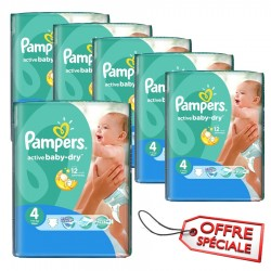 Pampers - Pack jumeaux 840 Couches Active Baby Dry taille 4 sur Couches Poupon