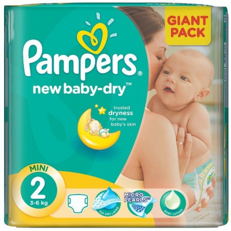 Pampers - Mega pack 144 Couches New Baby Dry taille 2 sur Couches Poupon