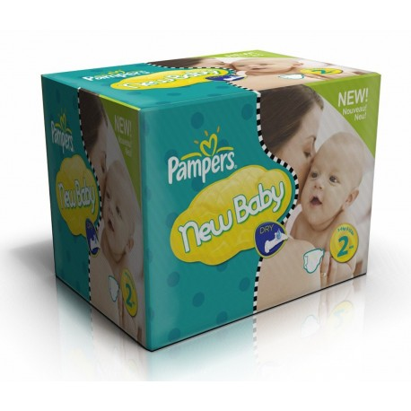 Pampers - Pack jumeaux 864 Couches New Baby Dry taille 2 sur Couches Poupon