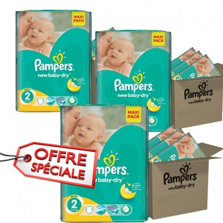 Pampers - Pack jumeaux 1008 Couches New Baby Dry taille 2 sur Couches Poupon