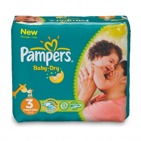 Pampers - Mega pack 116 Couches Baby Dry taille 3 sur Couches Poupon
