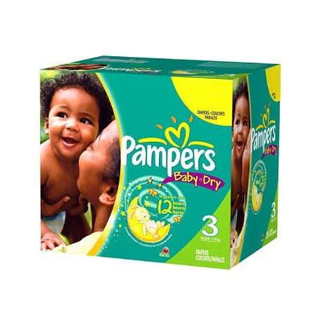 Pampers - Pack jumeaux 580 Couches Baby Dry taille 3 sur Couches Poupon
