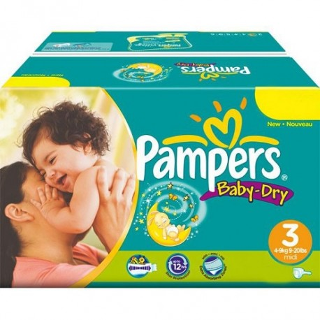 Pampers - Pack jumeaux 696 Couches Baby Dry taille 3 sur Couches Poupon